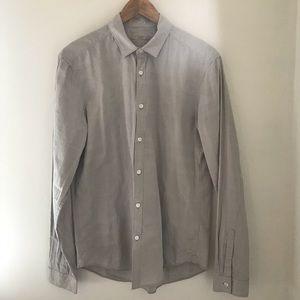 Men's Burberry Brit Grey Long Sleeve Button Down L